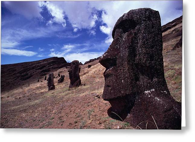 Primitive Sculpture Greeting Cards - The Gigantic Head Of A Moai Appears Greeting Card by James P. Blair