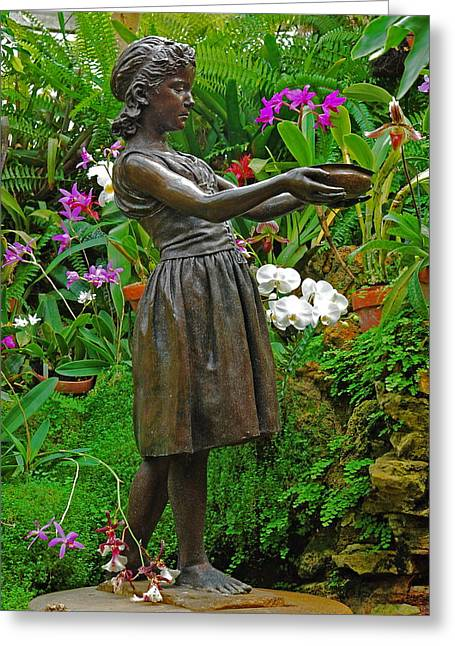 Belle Isle Greeting Cards - The Girl Among Orchids Greeting Card by Michael Peychich