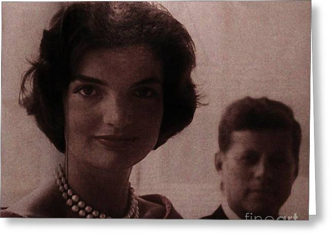 Jackie Kennedy Greeting Cards - The Girl With The Pearls Greeting Card by Marsha Heiken