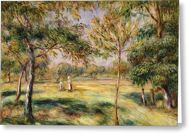 Tall Trees Greeting Cards - The Glade Greeting Card by Pierre Auguste Renoir