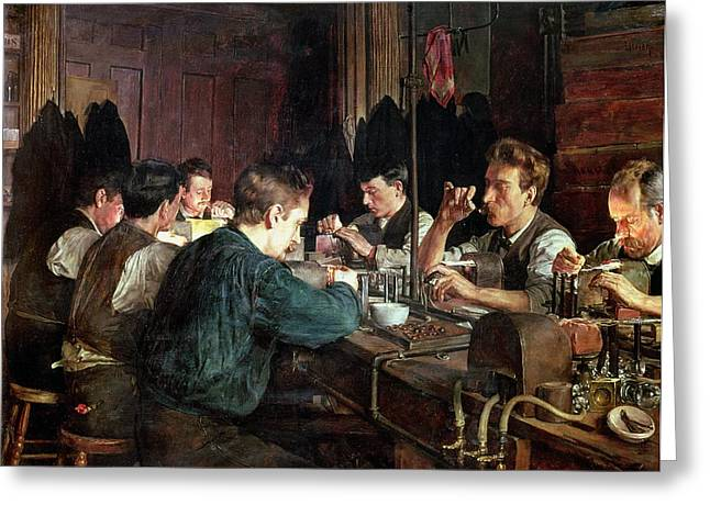 Factory Workers Greeting Cards - The Glass Blowers Greeting Card by Charles Frederic Ulrich
