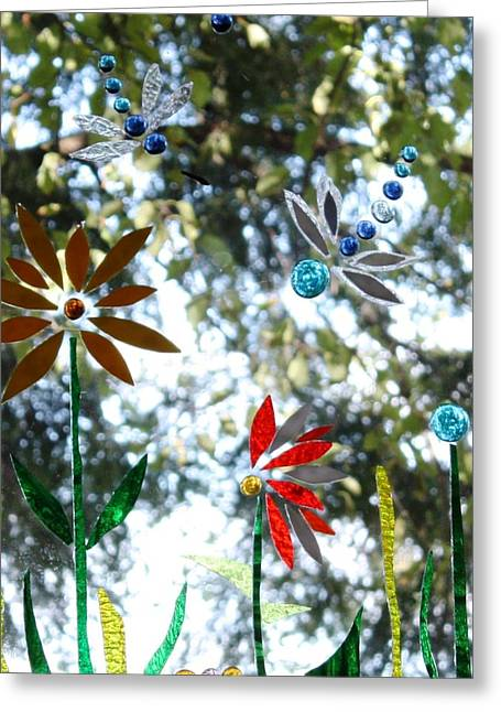 Garden Glass Art Greeting Cards - The Glass Garden Greeting Card by Pat Purdy
