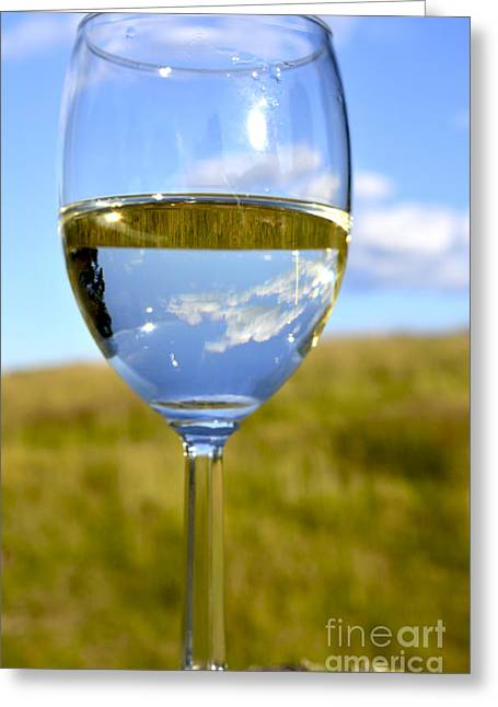 Pinot Grigio Greeting Cards - The Glass is Half Full Greeting Card by Thomas R Fletcher