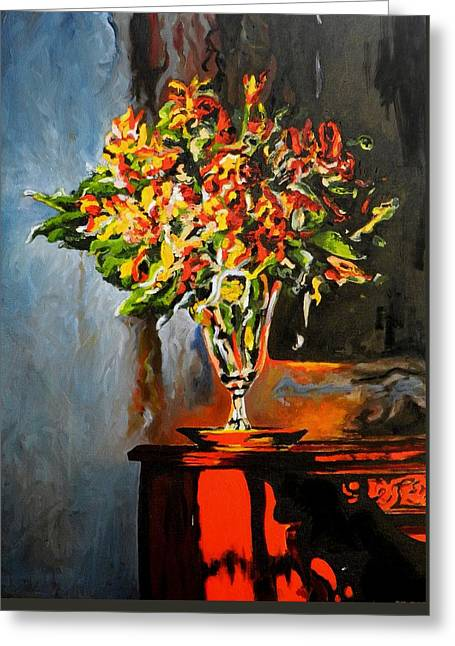 Interior Still Life Greeting Cards - The Glass Vase Greeting Card by Jolante Hesse