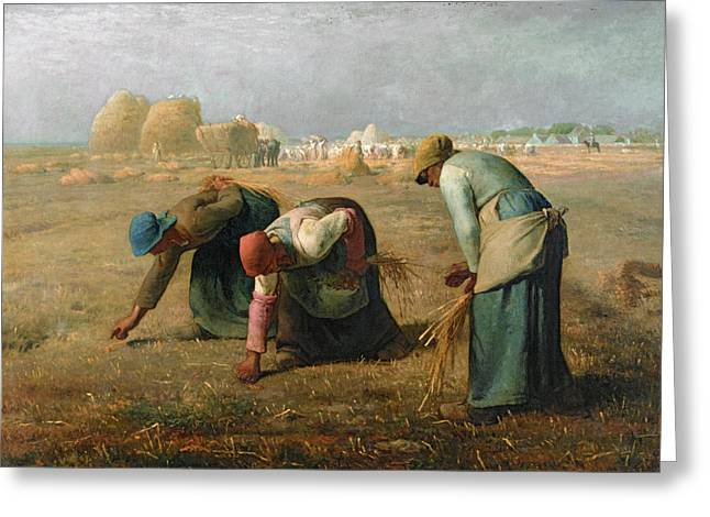 Fields Greeting Cards - The Gleaners Greeting Card by Jean Francois Millet