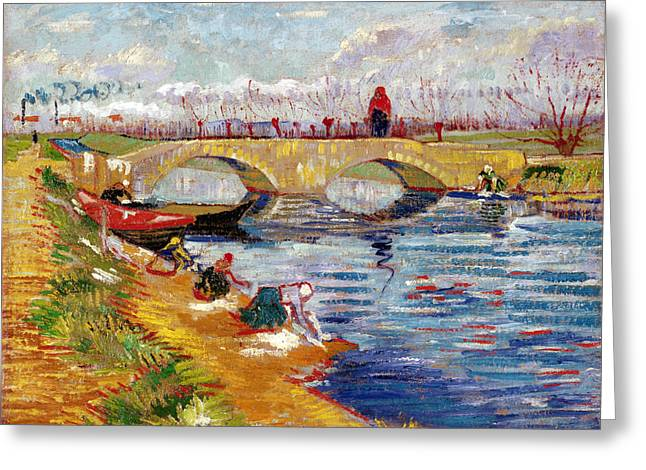 Vangogh Greeting Cards - The Gleize Bridge over the Vigneyret Canal  Greeting Card by Vincent van Gogh
