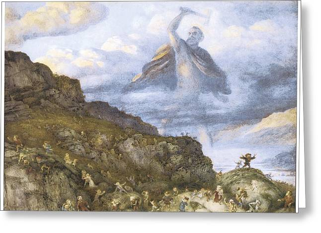 Thor Paintings Greeting Cards - The God Thor and the Dwarves Greeting Card by Richard Doyle