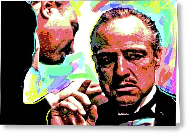 Star Greeting Cards - The Godfather - Marlon Brando Greeting Card by David Lloyd Glover