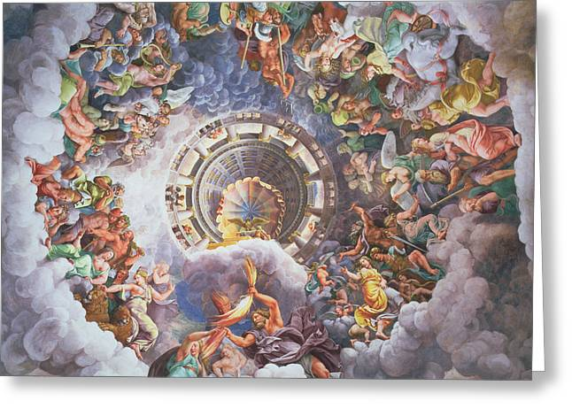 The Gods of Olympus Greeting Card by Giulio Romano