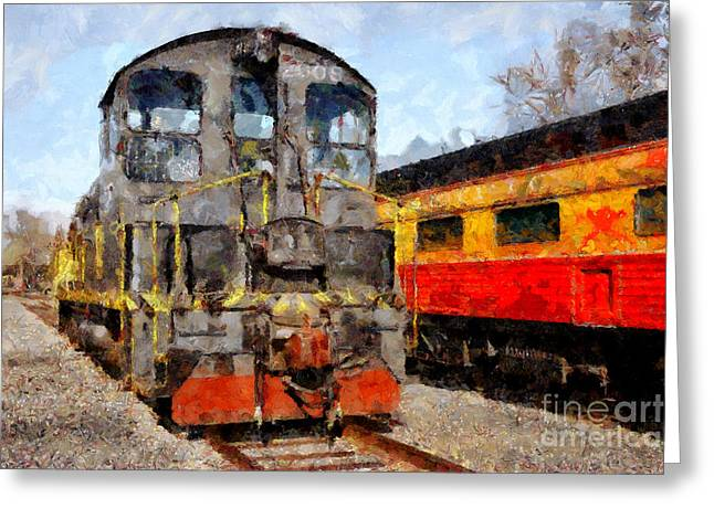 Tanker Train Greeting Cards - The Golden Age of Railroads . 7D11588 Greeting Card by Wingsdomain Art and Photography