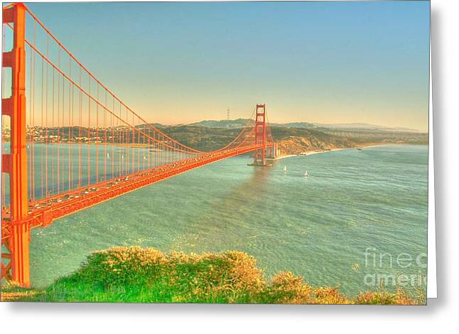 Sausalito Greeting Cards - The Golden Gate Bridge  Fall Season Greeting Card by Alberta Brown Buller