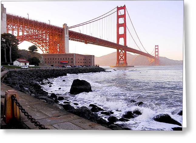Leori Gill Greeting Cards - The Golden Gate Bridge Greeting Card by Leori Gill