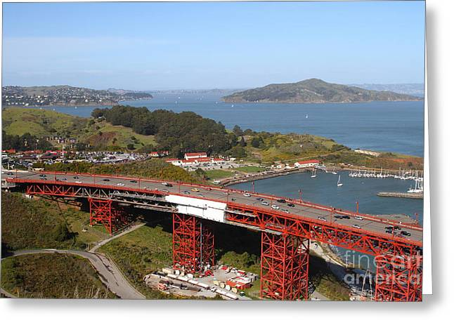 Sausalito Greeting Cards - The Golden Gate Bridge North Side Overlooking Angel Island and Tiburon and Horseshoe Bay . 7D14494 Greeting Card by Wingsdomain Art and Photography