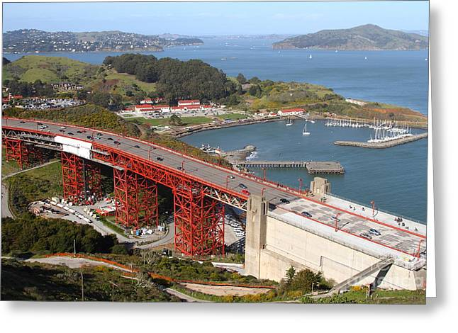 The Golden Gate Bridge North Side Overlooking Angel Island And Tiburon And Horseshoe Bay . 7d14540 Greeting Card by Wingsdomain Art and Photography