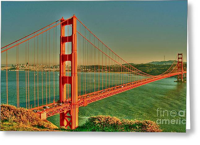 Sausalito Digital Greeting Cards - The Golden Gate Bridge Summer Greeting Card by Alberta Brown Buller
