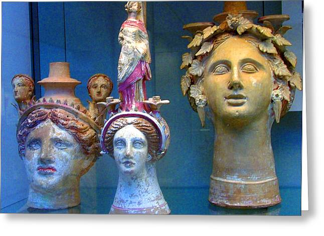 Woman Head Sculpture Greeting Cards - The Golden Girls Greeting Card by Mindy Newman