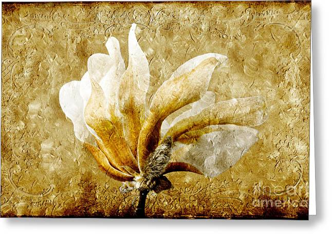 Isolated Mixed Media Greeting Cards - The Golden Magnolia Greeting Card by Andee Design
