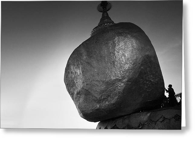 Buddhist Monks Greeting Cards - The Golden Rock Greeting Card by Nina Papiorek