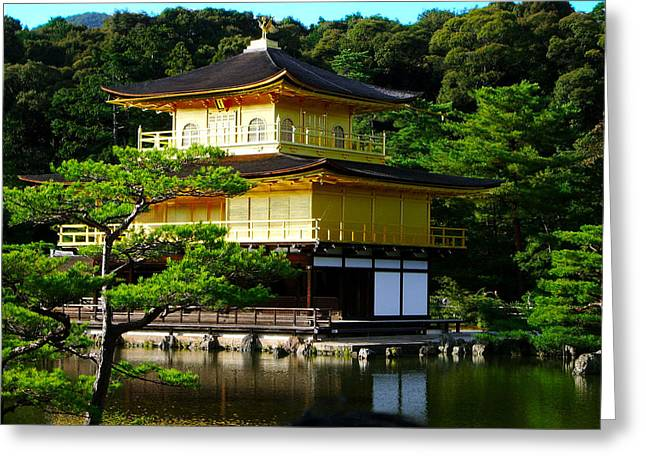 Kyoto Digital Art Greeting Cards - The Golden Temple in Kyoto Greeting Card by Tim Ernst