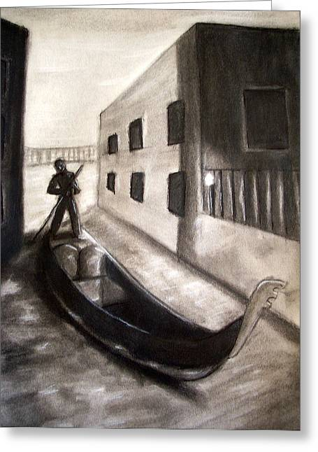 Gondolier Drawings Greeting Cards - The Gondola Greeting Card by C Nick