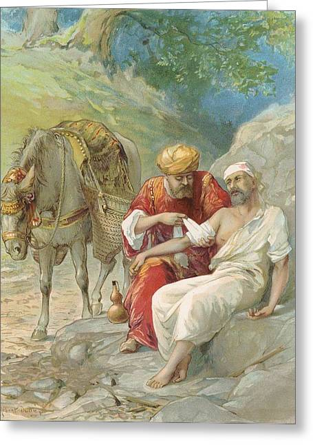 Bible Stories Greeting Cards - The Good Samaritan Greeting Card by Ambrose Dudley