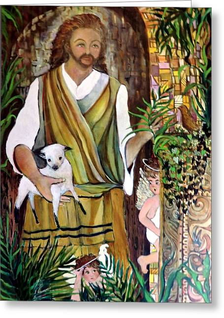 Son Of God Drawings Greeting Cards - The Good Shephard at the Door Greeting Card by Mindy Newman