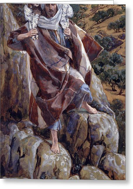 Lesson Greeting Cards - The Good Shepherd Greeting Card by Tissot