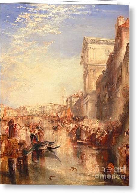 Rialto Bridge Greeting Cards - The Grand Canal Scene - a Street in Venice Greeting Card by Joseph Mallord William Turner