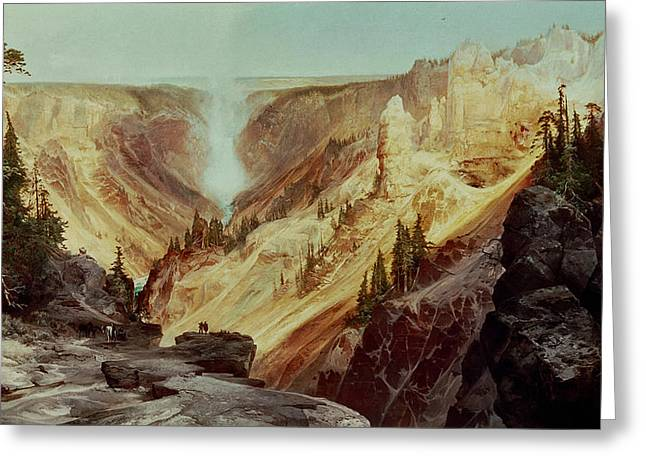 Reserve Greeting Cards - The Grand Canyon of the Yellowstone Greeting Card by Thomas Moran