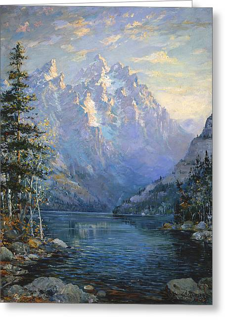 Lewis Greeting Cards - The Grand Tetons and Jenny Lake Greeting Card by Lewis A Ramsey