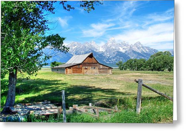 Barn Landscape Photographs Greeting Cards - The Grand Tetons and the Morman Barn Greeting Card by Ken Smith