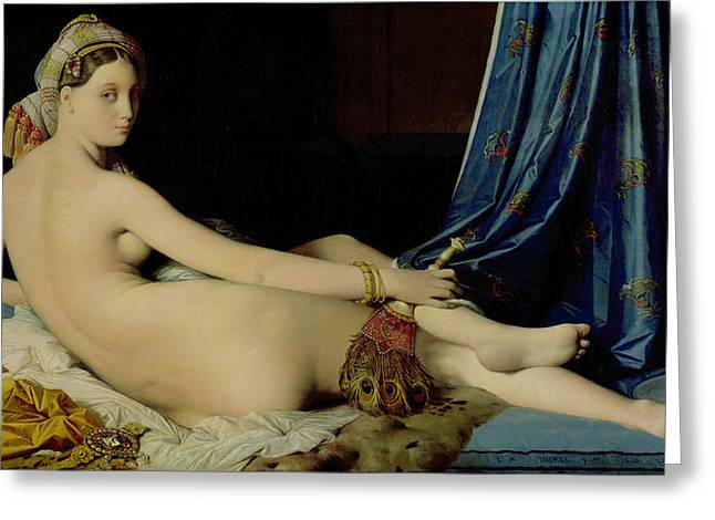 Grande Greeting Cards - The Grande Odalisque Greeting Card by Ingres