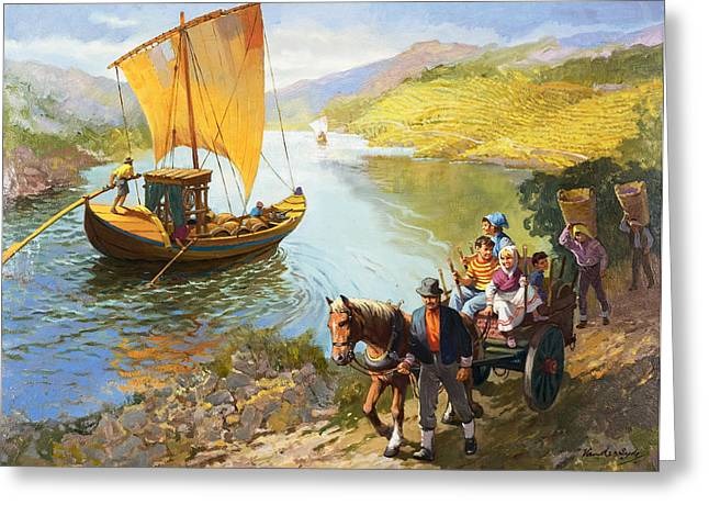 Horse And Cart Paintings Greeting Cards - The Grape-Pickers of Portugal Greeting Card by van der Syde