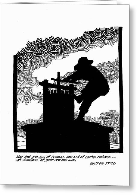 Napa Drawings Greeting Cards - The Grapecrusher Greeting Card by Rich Brumfield