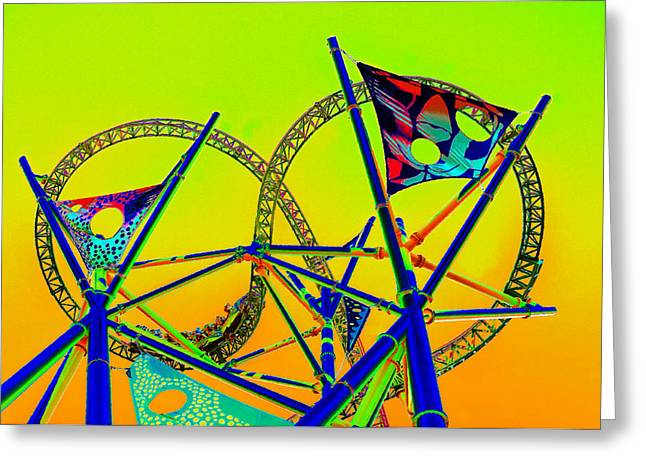 Amusements Digital Art Greeting Cards - The Great Amusement Park Ride Greeting Card by David Lee Thompson