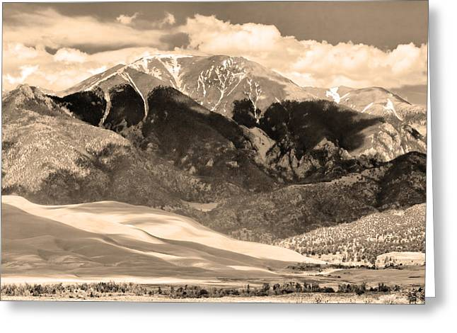 Great Sand Dunes National Preserve Greeting Cards - The Great Colorado Sand Dunes in Sepia Greeting Card by James BO  Insogna