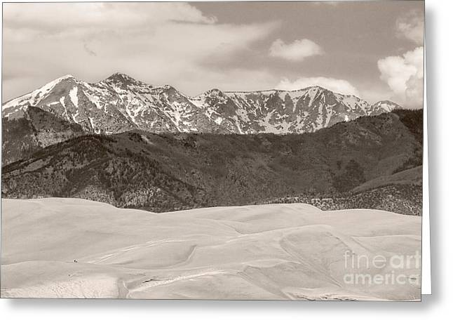 Colorado Sand Dunes Greeting Cards - The Great Colorado Sand Dunes Sepia Greeting Card by James BO  Insogna
