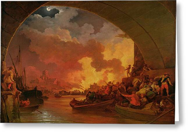 1797 Greeting Cards - The Great Fire of London Greeting Card by Philip James de Loutherbourg