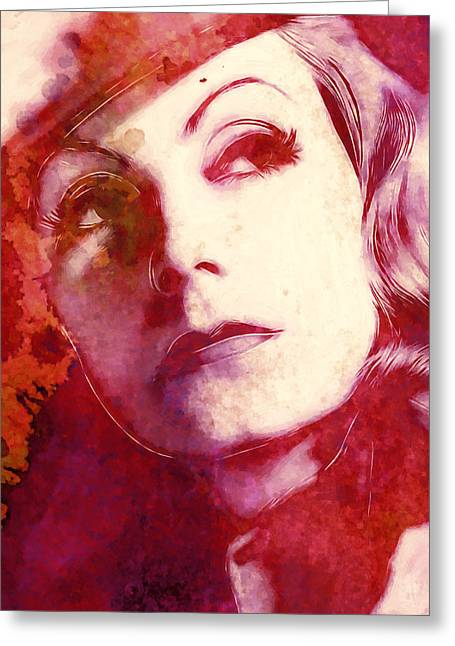 Classic Hollywood Paintings Greeting Cards - The great Garbo Greeting Card by Stefan Kuhn