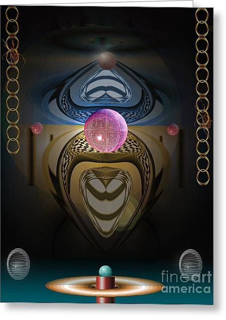 Surreal Geometric Mixed Media Greeting Cards - The Great Hall Greeting Card by Peter Maricq