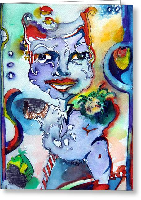 Jester Mixed Media Greeting Cards - The Great Pretender Greeting Card by Mindy Newman