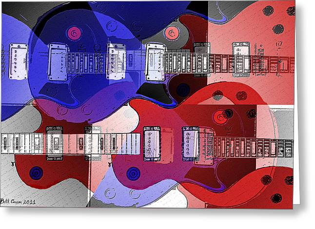 The Les Paul Guitar Greeting Cards - The Great Rock and Roll Swindle Greeting Card by Bill Cannon