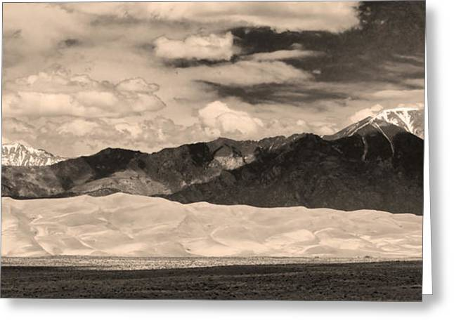 """nature Photography Prints"" Greeting Cards - The Great Sand Dunes Panorama 2 Sepia Greeting Card by James BO  Insogna"