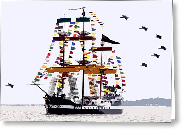 Pirate Ships Greeting Cards - The great ship Gasparilla Greeting Card by David Lee Thompson