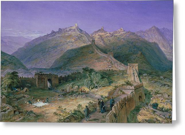 The Protected Greeting Cards - The Great Wall of China Greeting Card by William Simpson