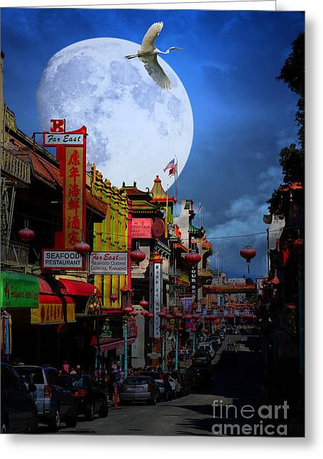 Snowy Night Night Greeting Cards - The Great White Phoenix of Chinatown . 7D7172 Greeting Card by Wingsdomain Art and Photography