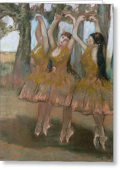Trio Greeting Cards - The Greek Dance Greeting Card by Edgar Degas
