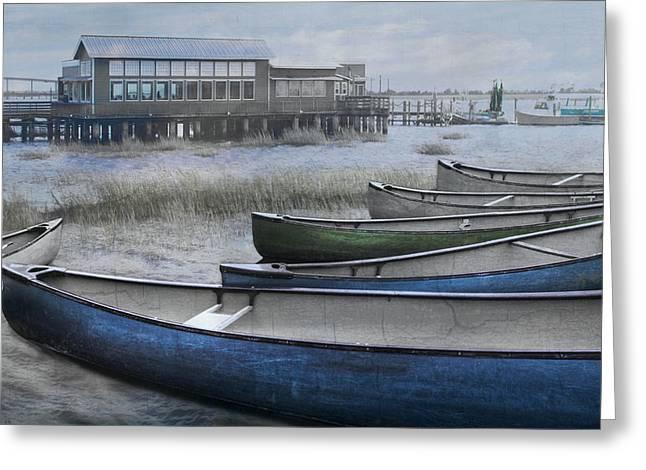 The Green Canoe Greeting Card by Debra and Dave Vanderlaan