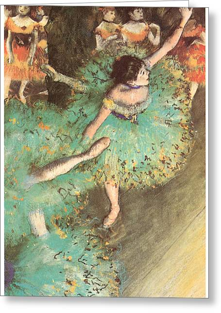 Ballet Dancers Pastels Greeting Cards - The Green Dancer Greeting Card by Edgar Degas