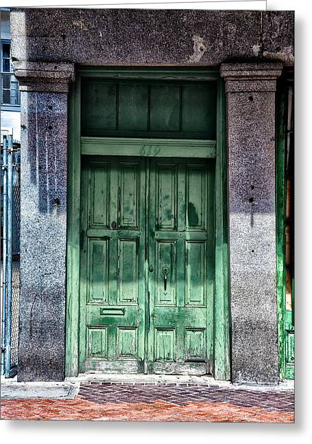 French Quarter Doors Greeting Cards - The Green Door in the French Quarter Greeting Card by Bill Cannon